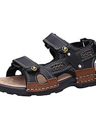 Недорогие -Мальчики Обувь Кожа Весна / Лето Удобная обувь Сандалии На крючках для Черный / Желтый / Коричневый