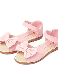cheap -Girls' Shoes Leatherette Summer Flower Girl Shoes Sandals Bowknot Magic Tape for Casual Dress White Pink