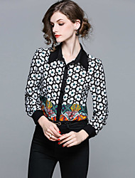 cheap -Seduction Gold House Women's Holiday Street chic Shirt - Geometric, Print Shirt Collar