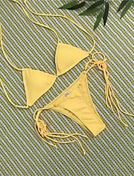 Недорогие -Жен. На бретелях Черный Красный Желтый Бикини Купальники - Однотонный Открытая спина S M L / Сексуальные платья