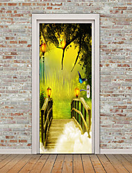 cheap -Landscape 3D Wall Stickers Plane Wall Stickers 3D Wall Stickers Decorative Wall Stickers Photo Stickers Floor Stickers Door Stickers,