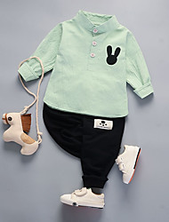 cheap -Unisex Daily Going out Solid Check Jacquard Clothing Set, Cotton Spring Fall Long Sleeves Cute Blushing Pink Light Green
