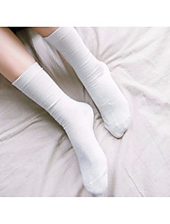 cheap -Women's Normal Medium Socks, Cotton Solid Two-piece Suit White Gray