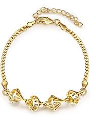 baratos -Mulheres Zircônia Cubica Pulseiras em Correntes e Ligações - Fashion Pulseiras Dourado / Ouro Rose Para Presente / Diário