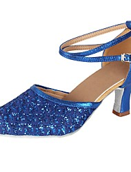 cheap -Women's Modern Paillette Leatherette Heel Party Professional Sequin Buckle Lace Cuban Heel Blue 2 - 2 3/4 Customizable