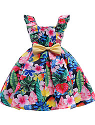 cheap -Girl's Daily Going out Floral Dress, Cotton Polyester Spring Summer Sleeveless Cute Active Rainbow