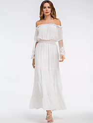 cheap -Women's Beach Street chic Flare Sleeve Slim Chiffon Swing Dress - Solid Colored, Lace Patchwork High Waist Maxi Off Shoulder Boat Neck