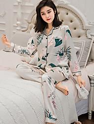 Недорогие -Жен. Костюм Пижамы С принтом,Цветочный принт