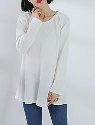 abordables -Mujer Estampado - Algodón Camiseta Un Color Manga Mariposa