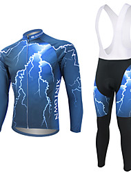 cheap -WEST BIKING® Men's Long Sleeves Cycling Jersey with Bib Tights - Blue Bike Bib Tights Jersey Clothing Suits, 3D Pad, Quick Dry, Anatomic