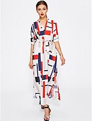 cheap -Women's Beach Holiday Boho Loose Loose Dress - Geometric Print Maxi V Neck