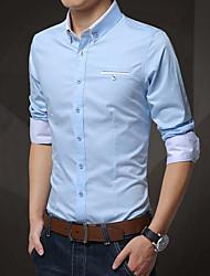 Недорогие -Муж. Классический Большие размеры - Рубашка Хлопок Тонкие Уличный стиль Однотонный / Длинный рукав