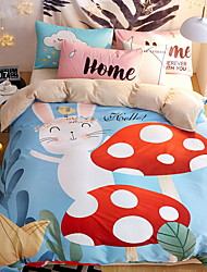 cheap -Duvet Cover Sets Cartoon 4 Piece Poly/Cotton 100% Cotton Printed Poly/Cotton 100% Cotton 1pc Duvet Cover 2pcs Shams 1pc Flat Sheet