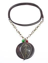 Недорогие -Жен. Ожерелья с подвесками - В форме листа Природа, Мода, Steampunk Коричневый Ожерелье Бижутерия 1 Назначение Для вечеринок, Школа