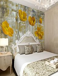 Недорогие -3d комплект ручная роспись желтый цветок большие настенные покрытия настенные обои подходят спальня спальня цветок