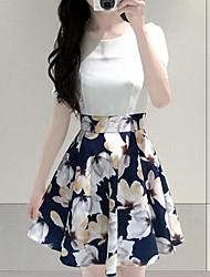 cheap -Women's Slim A Line Sheath Dress - Floral, Pleated Print High Waist