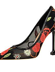 baratos -Mulheres Sapatos Renda Primavera / Verão Conforto / Inovador Saltos Salto Agulha Dedo Apontado Vermelho / Azul / Amêndoa / Festas & Noite