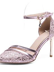 preiswerte -Damen Schuhe Paillette PU Frühling Sommer Pumps High Heels Stöckelabsatz Spitze Zehe Schnalle für Büro & Karriere Party & Festivität Gold
