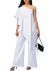 cheap -Women's Going out Slim Jumpsuit - Solid Colored, Ruffle Wide Leg One Shoulder