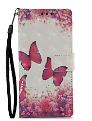 Недорогие -Кейс для Назначение Sony Xperia XZ1 Xperia XA1 Бумажник для карт Кошелек со стендом Флип С узором Чехол Бабочка Твердый Кожа PU для Sony