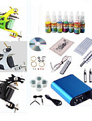 cheap -Tattoo Machine Starter Kit 3 steel machine liner & shader 1 alloy machine liner & shader Voltage Adjustable Mini power supply 1 x