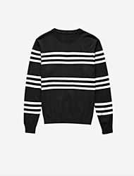 cheap -Men's Long Sleeves Pullover - Striped Round Neck