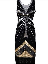 abordables -Gatsby le magnifique Gatsby Années 20 Costume Femme Robes Noir Doré Argent Vintage Cosplay Polyester Sans Manches