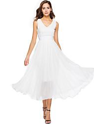 abordables -Mujer Gasa Corte Swing Vestido - Plisado, Un Color