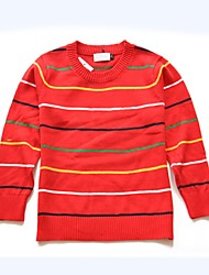 cheap -Unisex Daily Holiday Striped Sweater & Cardigan, Cotton Spring Fall Long Sleeves Simple Red Navy Blue