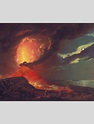 Недорогие -Ручная роспись Абстракция Горизонтальная панорама, Modern Hang-роспись маслом Украшение дома 1 панель