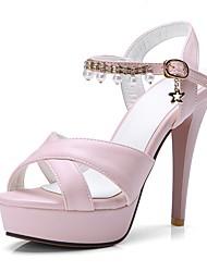 abordables -Femme Chaussures Similicuir Printemps Eté Confort Sandales Talon Aiguille Bout ouvert pour Décontracté De plein air Blanc Noir Rose