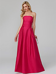 cheap -A-Line Strapless Floor Length Taffeta Cocktail Party / Formal Evening / Holiday Dress with Pleats by TS Couture®