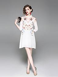 abordables -Mujer Básico Línea A Vestido - Malla Bordado, Animal Sobre la rodilla