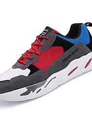 お買い得  -男性用 靴 TPU 春 夏 ライト付きソール コンフォートシューズ スニーカー テニス フィットネス ランニング のために カジュアル アウトドア ベージュ レッド ブラックとホワイト