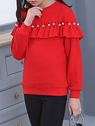 cheap -Girls' Solid Hoodie & Sweatshirt, Cotton Winter Long Sleeves Cute Black Red Blushing Pink