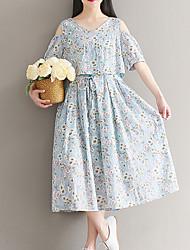 baratos -Mulheres Solto Vestido - Estampado, Floral Médio / Verão