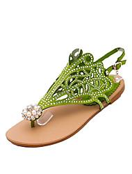 Недорогие -Жен. Полиуретан Лето Удобная обувь Сандалии На плоской подошве Круглый носок Стразы Черный / Лиловый / Зеленый
