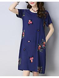povoljno -Žene Vintage Majica Haljina - Print, Cvjetni print Do koljena