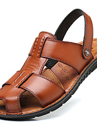 cheap -Men's Shoes Leather / Cowhide Spring / Summer Comfort / Light Soles Sandals Black / Brown