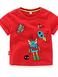 preiswerte -Jungen Alltag Festtage Geometrisch T-Shirt, Baumwolle Polyester Sommer Kurzarm Aktiv Grundlegend Rote Gelb Leicht Blau