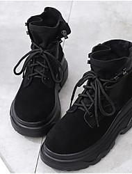 Недорогие -Жен. Обувь Кожа Осень / Зима Армейские ботинки Ботинки На низком каблуке Ботинки Черный
