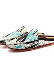 お買い得  -男性用 靴 レザーレット 春 夏 コンフォートシューズ ローファー&スリップアドオン のために カジュアル アウトドア 黒とゴールド ブラックとホワイト 白 / 青