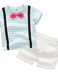 povoljno -dječački prugasti odjevni set, pamučno ljetno plavo