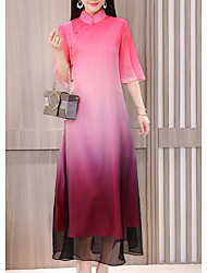 abordables -Femme Grandes Tailles Basique Mousseline de Soie Robe Arc-en-ciel Taille haute Col Roulé Maxi