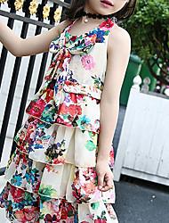 baratos -Menina de Vestido Para Noite Floral Verão Poliéster Sem Manga Boho Vermelho