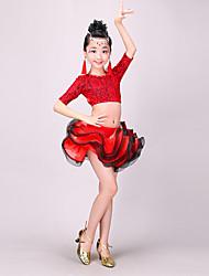 baratos -Dança Latina Roupa Para Meninas Espetáculo Poliéster Renda Ondulado Meia Manga Caído Saias Blusa