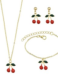 cheap -Jewelry Set - Cherry Basic, Sweet Include Chain Bracelet / Drop Earrings / Pendant Necklace Gold For Daily / Office & Career