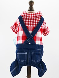 cheap -Dogs Cats Pets Jumpsuit Dog Clothes Plaid / Check Jeans British Red Blue Cotton / Polyester Jeans Costume For Pets Male Cowboy Fashion