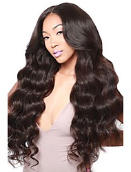 cheap -Virgin Human Hair 360 Frontal Wig Brazilian Hair / Body Wave Wavy Middle Part / Deep Parting 180% Density With Baby Hair / Natural Hairline / With Bleached Knots Black Women's Short / Long / Mid