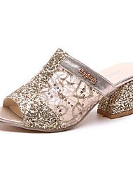 abordables -Femme Chaussures Polyuréthane Eté Confort Sandales Marche Talon Bas Bout rond Boucle Argent / Doré